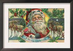A Merry Christmas Santa and Reindeer Scene. A Merry Christmas Santa and Reindeer Scene - Framed Art Print. Price: $49.99