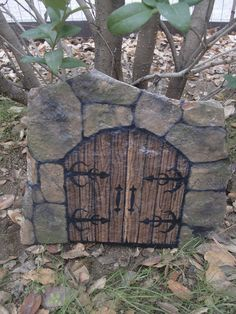 DOORS of PERCEPTION - hand painted castle doors on flagstone - natural art. $49.00, via Etsy.