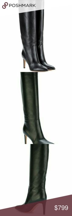 Gianvito Rossi Dana' mid calf boots Black leather 'Dana' mid calf boots from Gianvito Rossi featuring a pointed toe, an exposed seam detail and a mid high stiletto heel. Gianvito Ross Shoes Ankle Boots & Booties