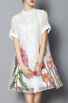 Shop mysj white embroidered flower ball gown dress here, find your mini dresses at dezzal, huge selection and best quality. Mode Outfits, Fashion Outfits, Fashion Sale, Womens Fashion, Fashion Trends, Vetements Clothing, Casual Dresses, Short Sleeve Dresses, Ball Gown Dresses