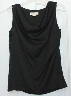 EUC Women's MICHAEL KORS medium black COWL NECK crinkle top blouse sleeveless