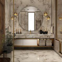 25 Elegant Bathroom Lighting That Enhance Your Bathroom& Elegant Appeal ---------------------------------------------------------------Decorative lighting ideas to beautify the minimalist bathroom with lamps abov Bad Inspiration, Bathroom Inspiration, Bathroom Design Luxury, Home Interior Design, Luxury Bathrooms, Master Bathrooms, Luxury Interior, Modern Interior, Interior Architecture
