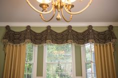 Drapery design pictures and window treatment ideas for top treatments such as valances, cornices, swags, curtains