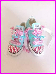 Aqua/Pink bling Converse by LahrynsToetique on Etsy, $50.00