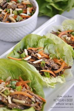 slow cooker korean beef lettuce wraps @yourhomebasedmom.com