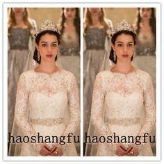 Lace-Sheer-Wedding-Bridal-Jacket-White-Ivory-Wraps-Shawls-Long-Sleeve-Handmade
