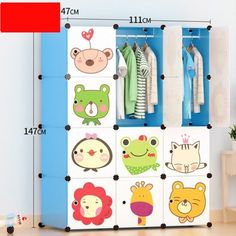 12 Cube Portable D.Y Closet Cabinet Wardrobe for Children&Kids Lovely cartoon print, cute and ador Portable Closet, Portable Wardrobe, Living Room Decor, Bedroom Decor, Kids Room, Child Room, Take Apart, Organizing Your Home, Cube