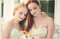 """Stylized lesbian wedding shoot featuring 2 dreamy """"brides""""!    Photo: Love+ Perry.    http://www.bridalbyliz.com/2012/08/dream-away-lodge-editorial-shoot-with-love-perry-photography/"""