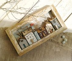 reclaimed / scrap wood miniature assemblage houses in shadow box - Assemblage Art Driftwood Crafts, Wooden Crafts, Diy And Crafts, Scrap Wood Crafts, Clay Houses, Wooden Houses, Box Houses, Miniature Houses, Ceramic Houses