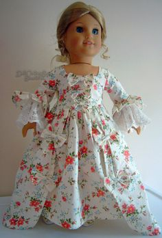 Beautiful Colonial Floral Gown Shoes Fits American Girl Elizabeth Doll Clothes | eBay