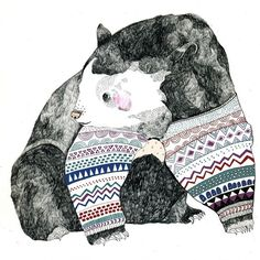 """I love the patterns and colors in Julia Potts's """"Knitted Bear"""" Illustration!"""
