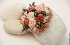 """Купить брошка """"ОсЕнНиЙ БуКеТ"""" - брошь цветок, брошь, текстильная брошь, украшение для платья"""