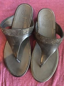 ae8eb28fc9c9 Fit-flop  crystal  leather thong sandal-9 40 guc