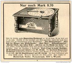 Original-Werbung/Inserat/ Anzeige 1902 : AMORETTE DREHORGEL / SUHR NEUENRADE ca. 80 X 90 mm
