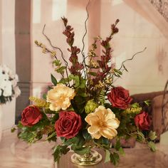 288 best silk flower arrangements images on pinterest in 2018 silk silk floral centerpiece with roses and magnolias ar416a colorful and elegant centerpiece for a mightylinksfo