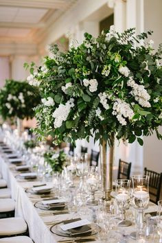 Gold Centerpieces, White Centerpiece, Wedding Venue Decorations, Wedding Venues, Wedding Reception, Wedding Ideas, Tall Gold Vases, Light Up Marquee Letters, Foil Wedding Stationery