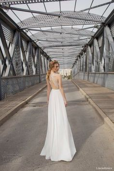 limor rosen 2015 olivia sleeveless wedding dress slit skirt illusion beaded bodice back view keyhole
