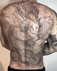 Koi Tattoo Back Piece Irezumi tattoos - Tattoo MAG Asian Tattoos, Back Tattoos, Sleeve Tattoos, Hot Tattoos, Back Piece Tattoo Men, Dragon Tattoo Back Piece, Backpiece Tattoo, Irezumi Tattoos, Dragon Tattoo Designs