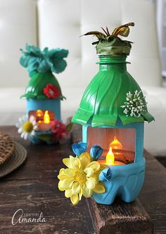 Turn empty plastic water bottles into adorable little fairy houses that double as night lights! Fun for a child's room or a nursery, or even the garden.