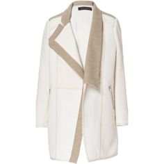 Zara Combination Fabric Coat White Jacket ($95) ❤ liked on Polyvore featuring outerwear, jackets and white jacket