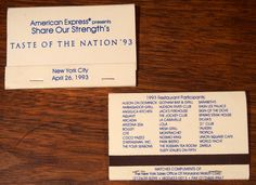 """#American Express """"Taste of the Nation '93"""" NYC"""" #billboard #matchbooks - To order your business' own branded #matches, go to www.GetMatches.com or call 800.605.7331 Today!"""