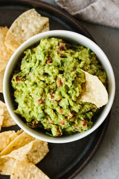 Best Ever Guacamole (Fresh, Easy & Authentic) | Downshiftology Authentic Mexican Recipes, Authentic Guacamole Recipe, Guacamole Recipe Easy, Homemade Guacamole, Avocado Recipes, Mexican Food Recipes, Vegetarian Recipes, Cooking Recipes, Healthy Recipes
