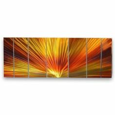 """All My Walls SWM00010 Metal Wall Sculpture by Ash Carl by All My Walls. $861.00. This 7 panel metal wall sculpture by artist Ash Carl will mesmerize you and your guests! The hand sanded finish on the metal creates a unique 3 dimensional effect. As you pass by, the artwork seemingly """"moves"""" by reflecting any light in the room. Lighting brings out amazing movement and texture in each panel! paint is applies to protect the metal and it features an amaz..."""