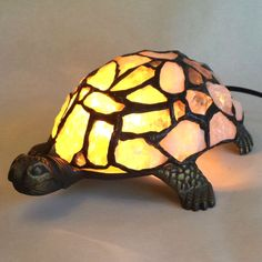 Lamp, turtle, made of crystal rock