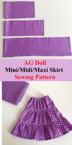 Learn how to sew this easy doll skirt for your American 18 inch doll in simple and quick steps. This sewing pattern comes with instructions to sew it ., Fun and Easy Doll Skirt Sewing Pattern - Sew Crafty Me American Girl Outfits, American Doll Clothes, American Girls, American Crafts, Doll Dress Patterns, Skirt Patterns Sewing, Skirt Sewing, Pattern Sewing, Coat Patterns