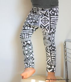 Kids Tribal Print Hipster Leggings- black and white cotton jersey, ethnic print, harem style pants, boys harem pant, sarouel