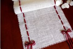 Burlap table runner Christmas table runner ivory burlap and yarn rustic table runner winter table decor Burlap Projects, Burlap Crafts, Sewing Projects, Christmas Projects, Holiday Crafts, Christmas Runner, Christmas Table Runners, Burlap Christmas, Winter Table