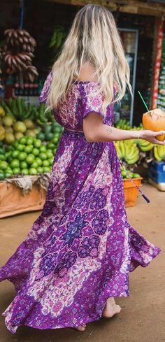 Violet Floral Boho Skirt / Crop Set                                                                             Source