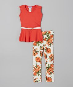 Another great find on #zulily! Coral Belted Top & Floral Leggings - Toddler & Girls #zulilyfinds
