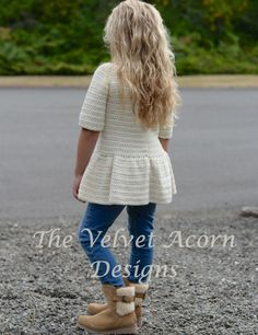 CROCHET PATTERN-The Script Pullover 2/3 4/5 6/7 by Thevelvetacorn