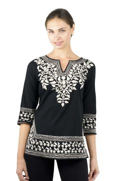 Gretchen Scott Cotton Embroidered Tunic