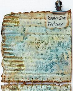 Media Kosher Salt Technique ~ Tutorial with photos for this unusual look achieved with Kosher Salt and Ink Mists.Mixed Media Kosher Salt Technique ~ Tutorial with photos for this unusual look achieved with Kosher Salt and Ink Mists. Mixed Media Tutorials, Mixed Media Techniques, Art Journal Techniques, Mixed Media Canvas, Mixed Media Collage, Collage Art, Paper Collages, Canvas Collage, Painting Collage