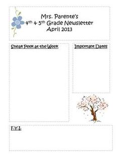 Newsletter Templates For All Year  Newsletter Templates School