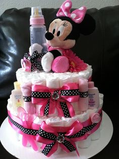 Items similar to Minie Mouse Hot Pink & Black 2 Tier Diaper Cake – Made to Order Customized on Etsy - Top Trends Mini Mouse Baby Shower, Baby Mouse, Baby Shower Fun, Baby Shower Gifts, Baby Minnie Mouse Cake, Baby Showers, Baby Shower Diapers, Baby Shower Cakes, Dipper Cakes