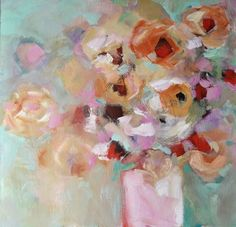 Bold strokes of soft pastel color on a richly textured canvas unite to create a unique abstract impressionistic floral. This painting measures 24