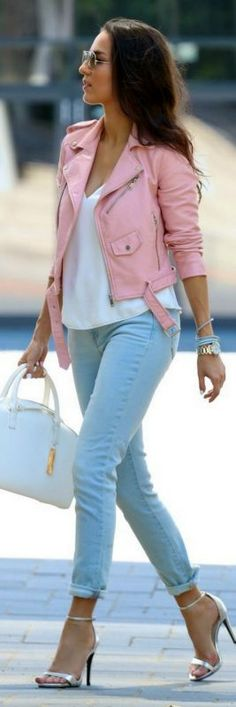 Baby Pink Biker Jacket // Fashion Look by Style And Blog