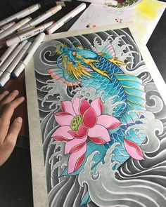 Another peony illustration I made for my lovely girlfriend recently. Koi Dragon Tattoo, Koi Fish Tattoo, Dragon Tattoo Designs, Japanese Tattoo Art, Japanese Sleeve Tattoos, Japanese Art, Ankle Band Tattoo, Koi Tattoo Sleeve, Sailor Jerry Tattoo Flash