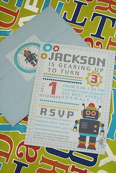 Robot Birthday Party Invitation Idea