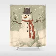 Snowman  by Terry Fan as a high quality Shower Curtain. Free Worldwide Shipping available at Society6.com from 11/26/14 thru 12/14/14. Just one of millions of products available.