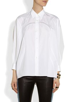 Semi-sheer white cotton-poplin Batwing sleeves, sheer mesh panels, button-fastening cuffs Button fastenings through front 100% cotton; trim: 100% polyester Hand wash