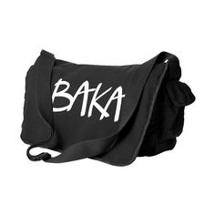 Baka Messenger Bag (text) Japanese messenger bag otaku anime bag... (320 CNY) ❤ liked on Polyvore featuring bags, messenger bags, backpack, laptop courier bag, laptop bag, laptop backpacks, animal backpack ve day pack backpack