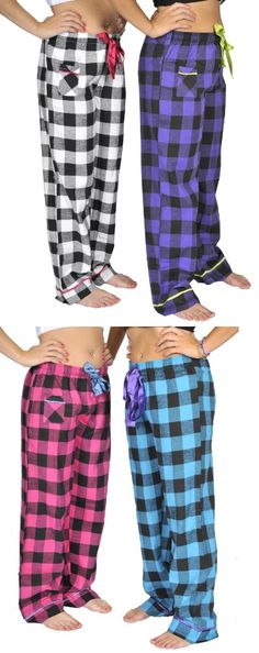Alki'i 2-pack Women's Flannel Pajama Pants set with satin detail - This pack contains 2 different colored plaid pajama pants, and each of them has a satin trim near the bottom and on the pocket. These pajama pants has a stretchy waistband that make them easy to wear,... - Sets - Apparel -