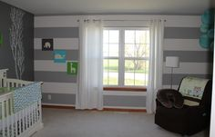 wall with windows  and curtains like this not necessarily white though striped wall