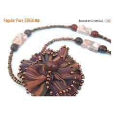 Flash Sale Beaded Necklace with Fabric Flower Pendant Rustic Copper... ($26) ❤ liked on Polyvore featuring jewelry, necklaces, statement pendant necklace, pendant necklace, copper jewelry, beaded flower necklace and flower statement necklaces
