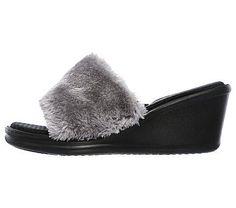 Skechers Women's Rumblers Summer Peach Wedge Sandals (Grey/Grey)