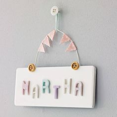 Personalised Vintage Style Door Sign by LittleBumpkins, the perfect gift for Explore more unique gifts in our curated marketplace. Dorm Room Doors, Bedroom Door Signs, Bedroom Doors, Room Signs, Fabric Letters, Fabric Bunting, Craft Letters, Christening Present, Door Plaques